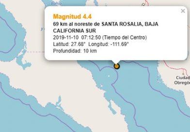 Registran sismo de 4.4 grados al noreste de Santa Rosalía, este domingo
